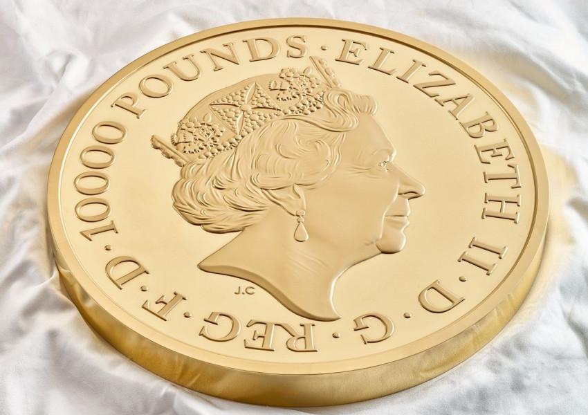 Кралският монетен двор представи уникална 10 килограмова монета от чисто злато